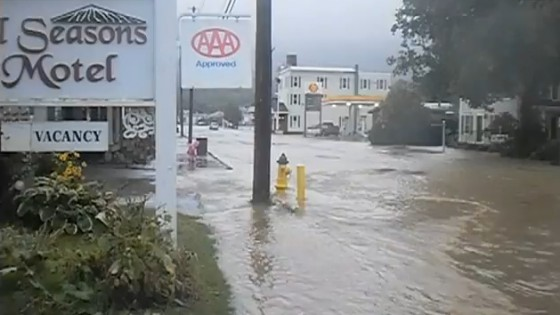 Tropical storm Irene dumps water on Ludlow Vemont. Footage taken from 7 to 8 pm Aug 28, 2011.